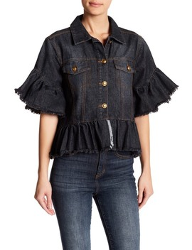 Trucker Cropped Ruffle Accent Jacket by Tov