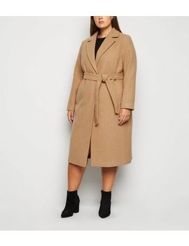 Curves Camel Belted Coat by New Look