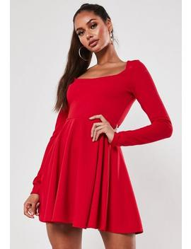 Petite Red Long Sleeve Skater Dress by Missguided