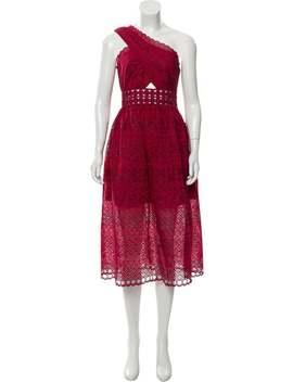 One Shoulder Midi Length Dress by Self Portrait