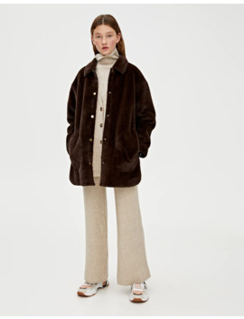 Faux Fur Overshirt With Snap Buttons by Pull & Bear