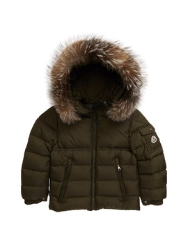 Byron Water Resistant Down Hooded Puffer Jacket With Genuine Fox Fur Trim by Moncler