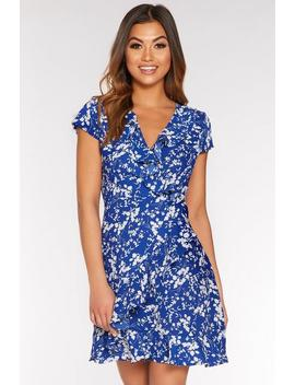 Royal Blue And White Floral Wrap Skater Dress by Quiz