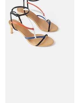 SandÁly Na StŘednĚ VysokÉm Podpatku S VÍcebarevnÝmi PÁsky by Zara
