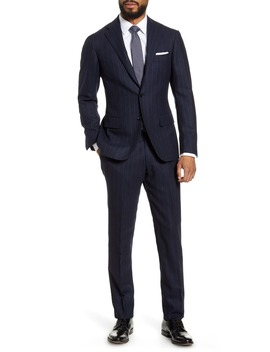 Calm Twist Trim Fit Stripe Wool Suit by Ring Jacket