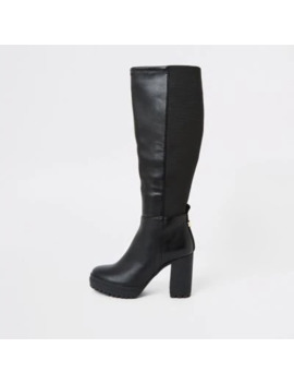 Black Platform Heel Stretch Boots by River Island