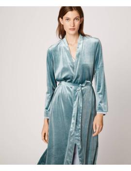 Greyish Blue Velvet Bath Robe by Oysho