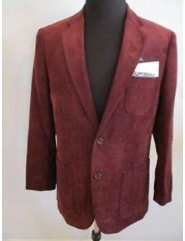 Nwt Alan Flusser Medium Burgundy 2 Button Sports Jacket W/Ultra Suede Patches by Alan Flusser