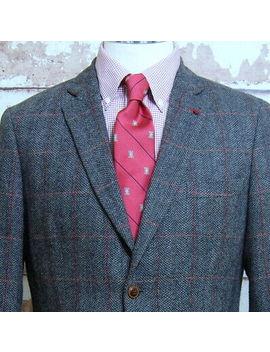 Alan Flusser Tweed Sport Coat Medium M Gray Herringbone  Red Windowpane Blazer by Alan Flusser