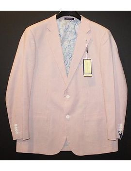 Alan Flusser Mens Coral White Pinstriped Blazer Sports Coat Jacket Nwt Size L by Alan Flusser
