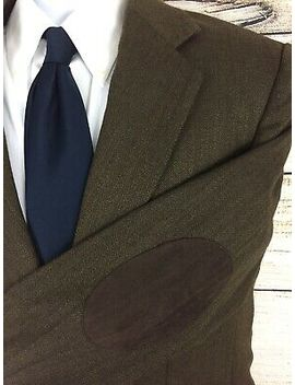 Alan Flusser Men's 100% Wool Brown Herringbone Elbow Patch Sport Coat Size Medium by Alan Flusser