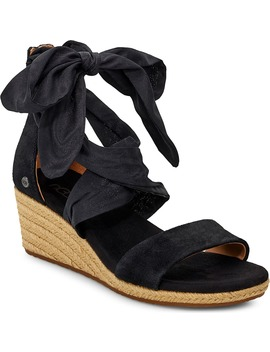 Trina Ribbon Tie Wedge Sandal by Ugg®