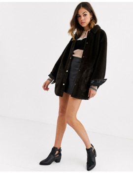 Pull&Bear Faux Fur Jacket With Poppers In Chocolate by Pull&Bear