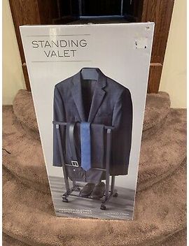 Men's Suit Valet Stand Clothes Storage Shoe Organizer Drawers Charger Outlet by Jp