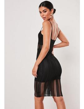 Tall Black Lace Strappy Midi Dress by Missguided