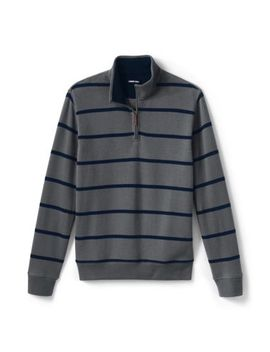 Men's Print Bedford Rib Quarter Zip Sweater by Lands' End