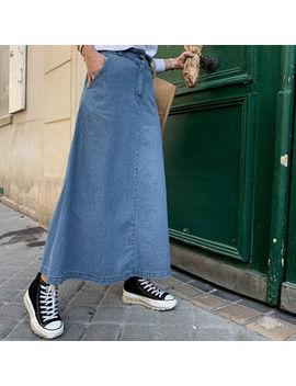 Naning9   A Line Maxi Denim Skirt by Naning9