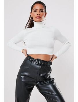 White Rib Roll Neck Basic Knitted Crop Top by Missguided