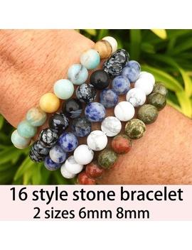 16 Styles Handmade Gems Semi Precious Stones 6mm 8mm Round Beads Elastic Bracelets Unisex by Wish