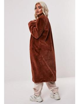 petite-brown-collarless-long-faux-fur-coat by missguided