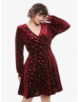 Harry Potter Burgundy Velvet Long Sleeve Dress Plus Size by Hot Topic