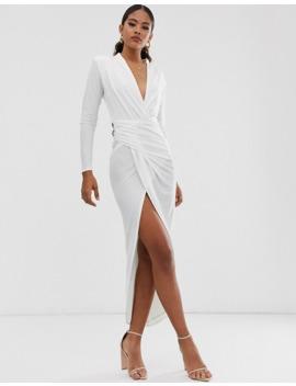 John Zack Tall Plunge Front Asymmetric Maxi Dress In White by John Zack