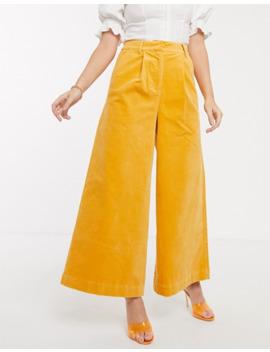 Asos Design Uber Wide Leg Culotte In Velvet by Asos Design