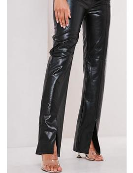 black-faux-leather-split-front-trousers by missguided