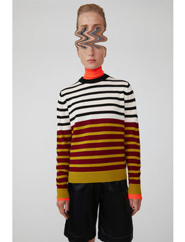 Colour Block Striped Sweater Burgundy Multi by Acne Studios