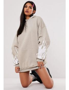 Jordan Lipscombe X Missguided Stone Flame Hoodie Sweater Dress by Missguided