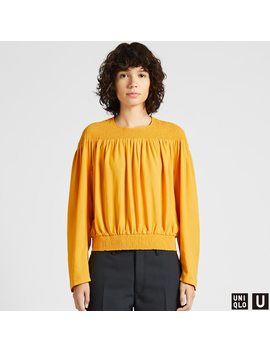 Women Uniqlo U Shirring Long Sleeved Blouse by Uniqlo
