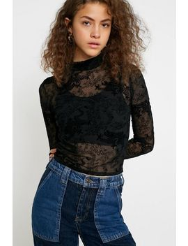 Uo Dragon Flocked Mock Neck Top by Urban Outfitters
