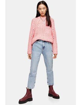 Bleach Wash Abraided Hem Straight Jeans by Topshop