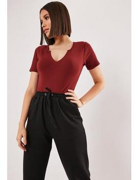 Red Notch Neck Short Sleeve Bodysuit by Missguided