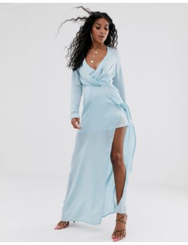 Missguided Twist Front Satin Maxi Dress With Thigh Split In Blue by Missguided's