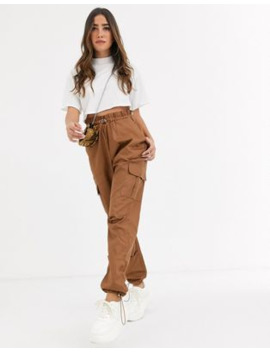 Missguided Paperbag Waist Twill Cargo Trousers In Sand by Missguided's