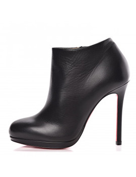 Christian Louboutin Calfskin Top Bella 120 Ankle Boots 35 Black by Christian Louboutin