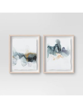 "(Set Of 2) 16"" X 20"" Blue And Gold Watercolor Framed Print   Project 62™ by Shop This Collection"