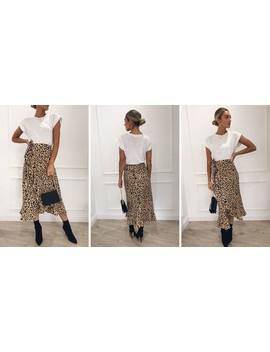 Lulu Wrap Midi Skirt Leopard Print by Pretty Lavish