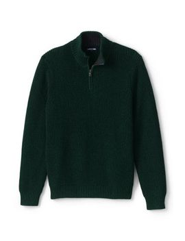 Men's Cotton Drifter Marl Quarter Zip Sweater by Lands' End