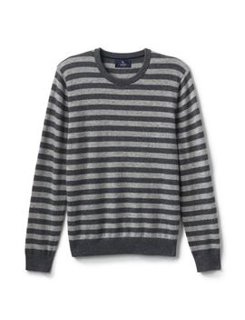 Men's Fine Gauge Cashmere Stripe Sweater by Lands' End