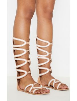 Tan Knee High Gladiator Sandal by Prettylittlething