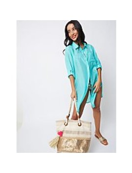 Turquoise Shirt Dress Cover Up by Asda