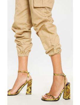 Yellow Snake Toe Loop Block Heel Stud Detail Sandal by Prettylittlething