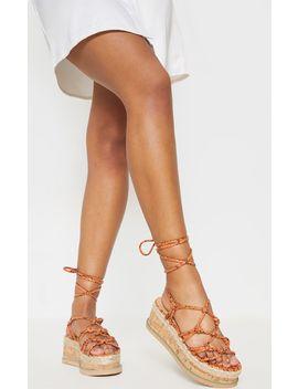 Orange Snake Knot Detail Flatform Espadrille Sandal by Prettylittlething