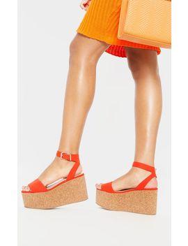 Orange Double Flatform Cork Sandal  by Prettylittlething