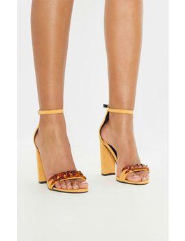 Mustard Tortoise Chain Detail Block Heel Sandal  by Prettylittlething