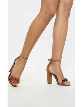 Sand Tortoise Chain Detail Block Heel Sandal  by Prettylittlething