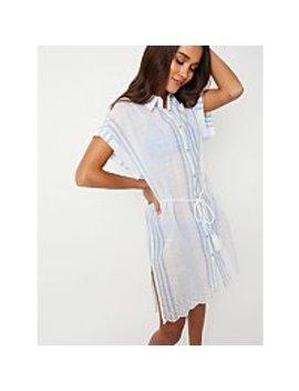 Blue Striped Cover Up Shirt Dress by Asda
