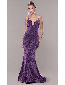 Long Open Back Metallic Glitter Jersey Prom Dress by Promgirl